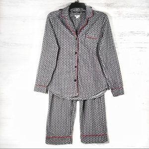 DKNY black and white red fleece pajama set